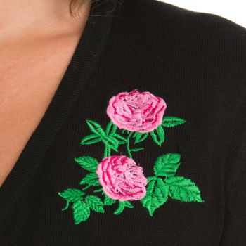 BOLERO - Centifolia Rose Shrug In Black