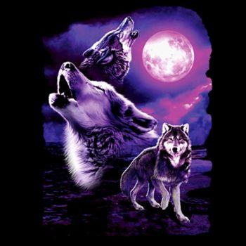 NAISTEN PAITA musta - FANTASY WOLF MOON (1032)