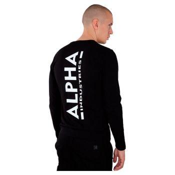 ALPHA COLLEGEPAITA MUSTA - Back Print Heavy LS - ALPHA INDUSTRIES