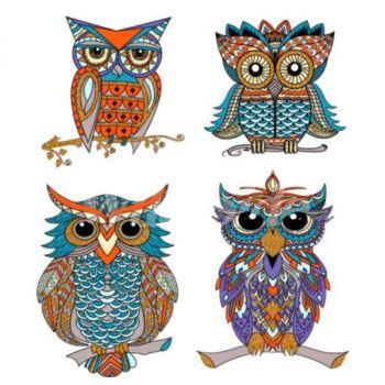 HUPPARIMEKKO HARMAA - FOUR PERCHED OWLS