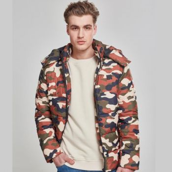 Hooded Camo Puffer Jacket RUSTYCAMO - URBAN CLASSICS