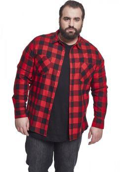FLANELLI KAULUSPAITA SUURET KOOT- Checked Flanell Shirt RED - URBAN CLASSICS
