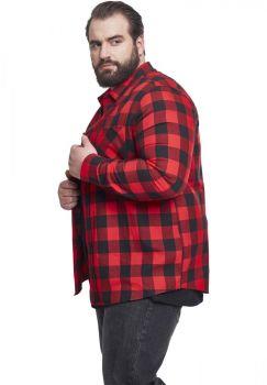KAULUSPAITA SUURET KOOT- Checked Flanell Shirt RED - URBAN CLASSICS