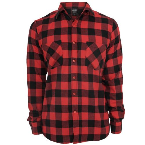 FLANELLI KAULUSPAITA - Checked Flanell Shirt RED - URBAN CLASSICS