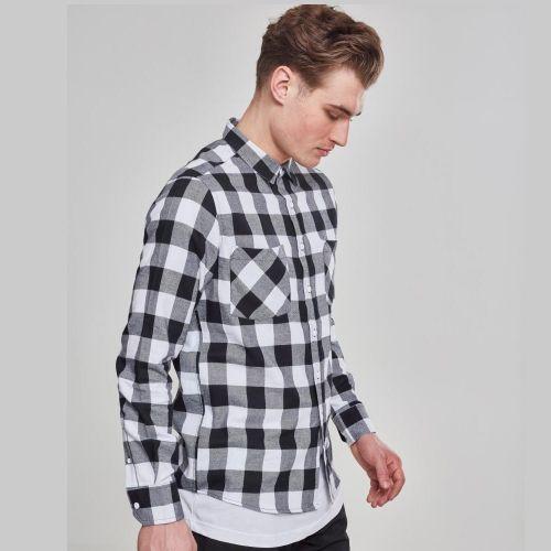 FLANELLI KAULUSPAITA - Checked Flanell Shirt WHITE - URBAN CLASSICS