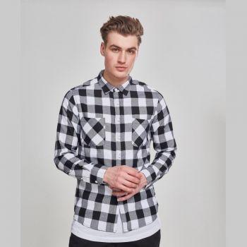 KAULUSPAITA - Checked Flanell Shirt WHITE - URBAN CLASSICS