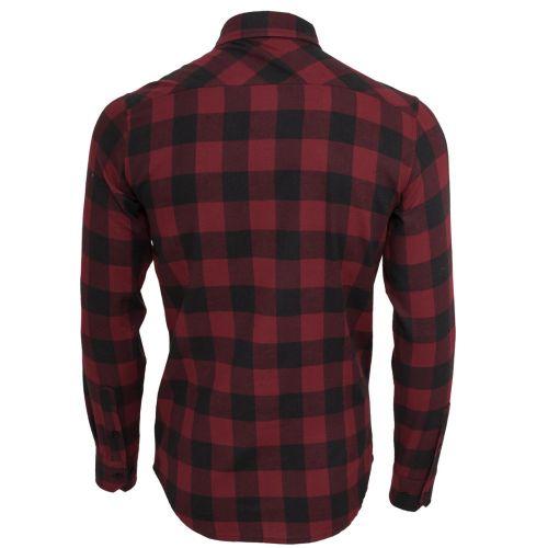 FLANELLI KAULUSPAITA - Checked Flanell Shirt BURGUNDY - URBAN CLASSICS