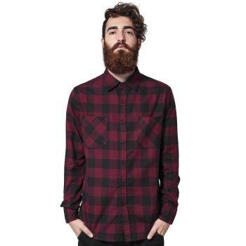 KAULUSPAITA - Checked Flanell Shirt BURGUNDY - URBAN CLASSICS