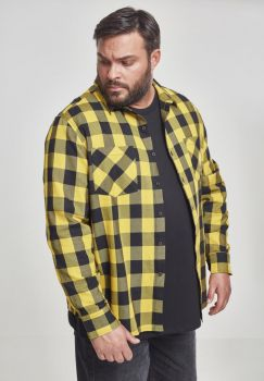 KAULUSPAITA SUURET KOOT- Checked Flanell Shirt HONEY - URBAN CLASSICS