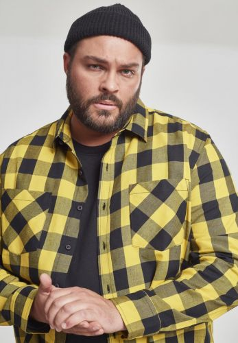 FLANELLI KAULUSPAITA SUURET KOOT- Checked Flanell Shirt HONEY - URBAN CLASSICS