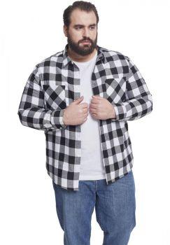 FLANELLI KAULUSPAITA SUURET KOOT- Checked Flanell Shirt WHITE - URBAN CLASSICS
