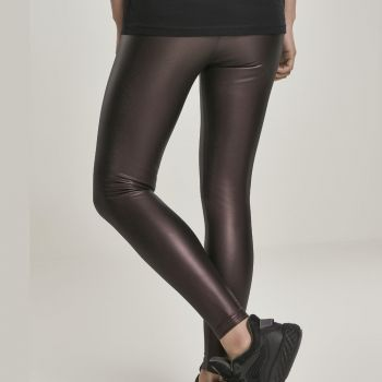 LEGGINSIT - Faux Leather High Waist REDWINE - URBAN CLASSICS