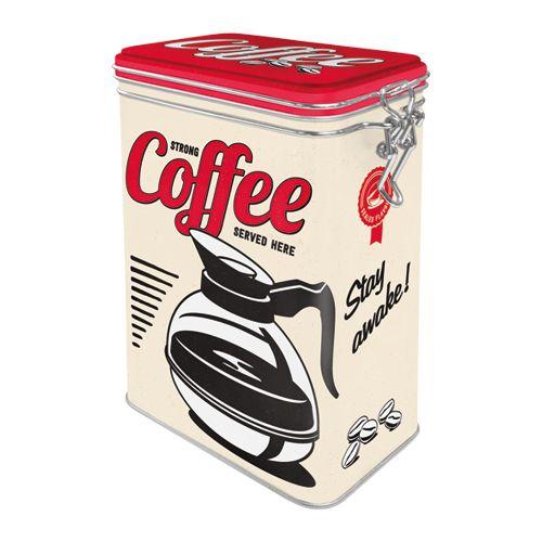 Säilytyspurkki klipsillä Strong coffee served here
