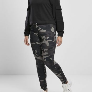 LEGGINSIT SUURET KOOT - High Waist Camo Tech dark camo - URBAN CLASSICS