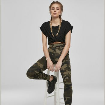 LEGGINSIT - High Waist Camo Tech WOOD CAMO - URBAN CLASSICS