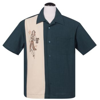 KAULUSPAITA - Mai Tai Mirage Button Up in Teal - STEADY CLOTHING