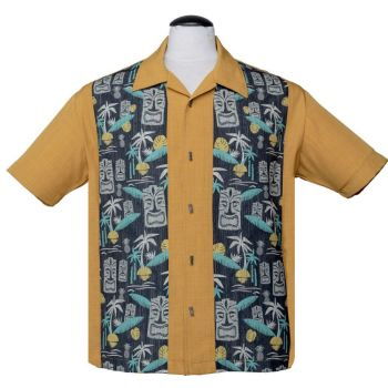 KAULUSPAITA - TIKI IN PARADISE MUSTARD - STEADY CLOTHING