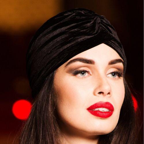 TURBAANI - Black Vintage Style Velvet