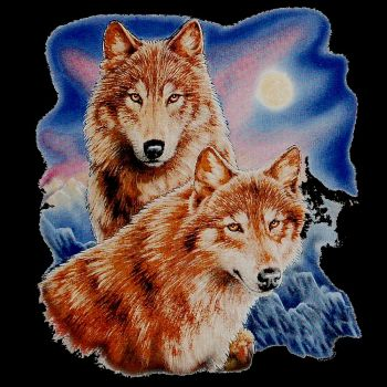 T-PAITA MUSTA - TWO WOLVES WITH MOON (507)