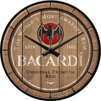 Seinäkello Bacardi - Wood Barrel Logo