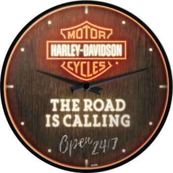 Seinäkello Harley-Davidson - Road is Calling Neon