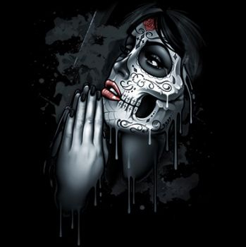 VETOKETJUHUPPARI musta - DAY OF DEAD PRAY (798E)
