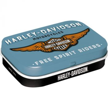 Pastillirasia Harley-Davidson logo sininen