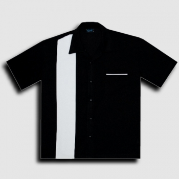 KAULUSPAITA - POPLIN SINGLE PANEL BLK/WHT - STEADY CLOTHING (85072)