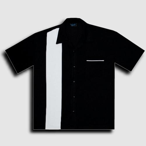 KAULUSPAITA - POPLIN SINGLE PANEL BLK/WHT - STEADY CLOTHING (85072)