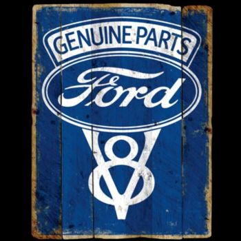 FORD GENUINE PARTS V8 LOGO VINTAGE SIGN (989A)