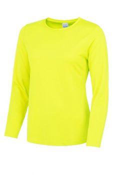 NAISTEN PITKÄHIHAINEN COOL T-PAITA Electric yellow