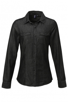 NAISTEN DENIM KAULUSPAITA Black Denim