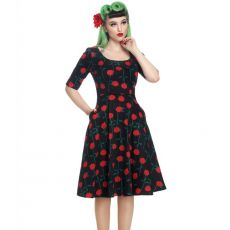 KELLOMEKKO - VINTAGE AMBER ROSE STEM SWING DRESS - COLLECTIF