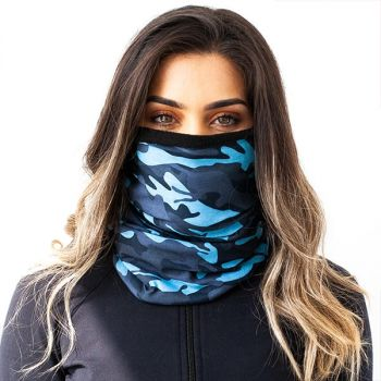 FLEECE PUFF HUIVI - AQUA MILTIARY CAMO FLEECE FACE SHIELD