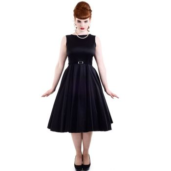KELLOMEKKO - HEPBURN DRESS BLACK  - LADY VINTAGE