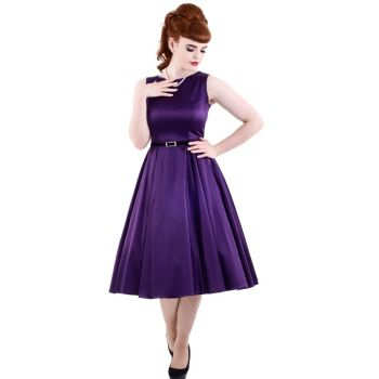 KELLOMEKKO - HEPBURN DRESS REGAL PURPLE  - LADY VINTAGE