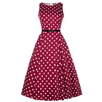 KELLOMEKKO - HEPBURN DRESS VERMILLION POLKA DOT - LADY VINTAGE