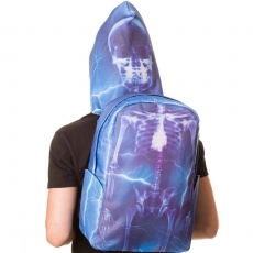 REPPU - Blue Skeleton Backpack with Hood - BANNED
