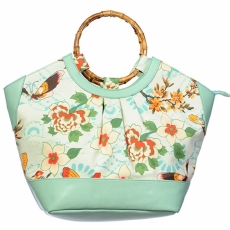 KÄSILAUKKU -  Butterfly And Flowers Green Handbag - BANNED