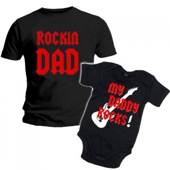 MIESTEN mu T-PAITA + VAUVAN BODY DADDY ROCK