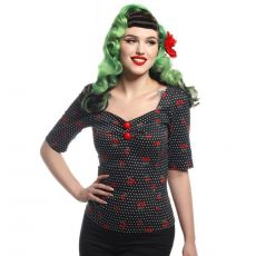 MAINLINE DOLORES HALF SLEEVE CHERRY POLKA DOT TOP - COLLECTIF