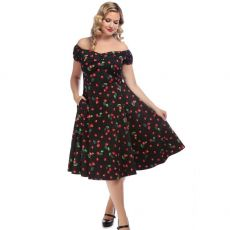 KELLOMEKKO - DOLORES DOLL 50S CHERRY PRINT DRESS - COLLECTIF