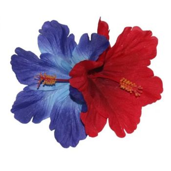 DEBRA Double Hibiscus Hair Flower in Blue & Red
