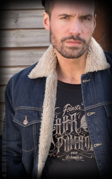 RUMBLE59 - Male Denim Jacket with teddy-bear cloth
