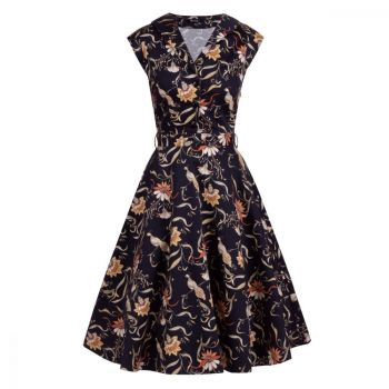 KELLOMEKKO - FLORENCE DRESS - BLACK BIRD FLORAL - LADY VINTAGE