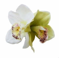 GINGER Double Green/Cream Orchid Hair Flower