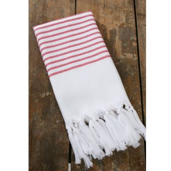 Pyyhe - Hamam pyyhe 90 x 150cm valkoinen/punainen