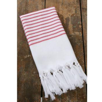 Pyyhe - Hamam pyyhe 100 x 200cm valkoinen/punainen