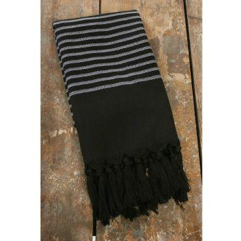 Pyyhe - Hamam pyyhe 90 x 150cm musta/harmaa