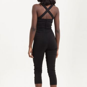 HAALARIT - Connie Fitted Capri Overalls BLACK